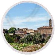 Panoramic View Of Rome Round Beach Towel