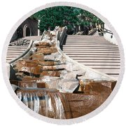Panoramic View Of Stairs And Waterfall Round Beach Towel