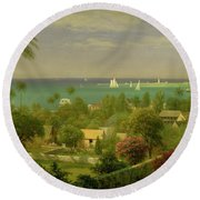 Panoramic View Of The Harbour At Nassau In The Bahamas Round Beach Towel by Albert Bierstadt