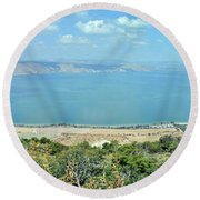 Panoramic View Of The Sea Of Galilee Round Beach Towel