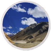 Panrama Of Mountains Ladakh Jammu And Kashmir India Round Beach Towel