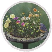 Pansies And Bluebird Round Beach Towel