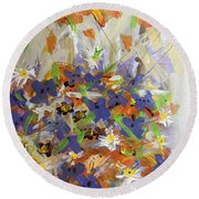 Pansies And Lillies Round Beach Towel