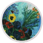Pansies And Poise Round Beach Towel
