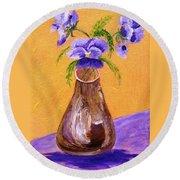 Pansies In Brown Vase Round Beach Towel by Jamie Frier