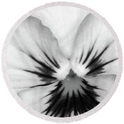 Pansy 01 Bw - Thoughts Of You Round Beach Towel