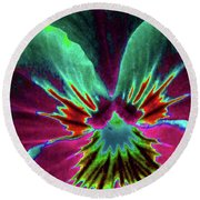 Pansy 01 - Photopower - Thoughts Of You Round Beach Towel
