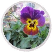 Pansy Perfection Round Beach Towel