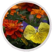 Pansy Play Round Beach Towel