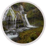 Panther Creek Falls In Autumn Round Beach Towel