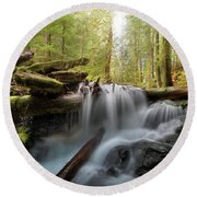 Panther Creek In Gifford Pinchot National Forest Round Beach Towel