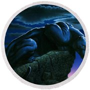 Panther On Rock Round Beach Towel