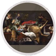 Pantry Scene With Servant By Frans Snyders Round Beach Towel