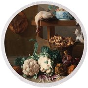 Pantry With Artichokes Cauliflowers And A Basket Of Mushrooms Round Beach Towel