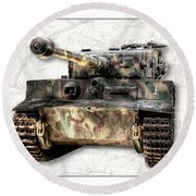 Panzer Tiger I Front Round Beach Towel