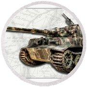 Panzer Tiger I Side Round Beach Towel