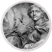 Papal Statues Inside St Peter's Basilica Round Beach Towel