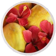 Papaya Fruit And Hibiscus Round Beach Towel