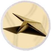 Paper Airplanes Of Wood 7 Round Beach Towel