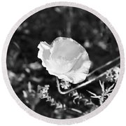 Paper Flower In B And W Round Beach Towel