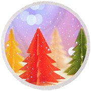 Paper Trees Round Beach Towel