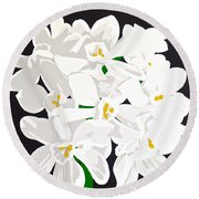 Paperwhites Round Beach Towel
