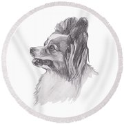 Papillon Dog Charcoal Drawing Round Beach Towel