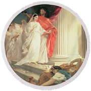 Parable Of The Wise And Foolish Virgins Round Beach Towel