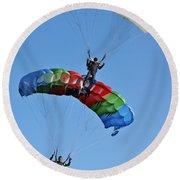 Parachutists Biplane Round Beach Towel