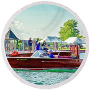 Parade Of Boats 41 Round Beach Towel