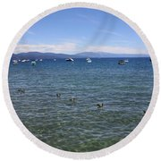 Parade Of Geese Round Beach Towel