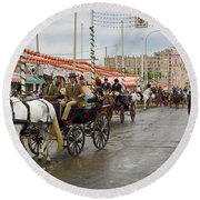 Parade Of Horse Drawn Carriages On Antonio Bienvenida Street Wit Round Beach Towel
