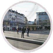 Paradeplatz - Bahnhofstrasse, Zurich Round Beach Towel