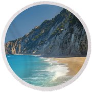 Paradise Beach With Blue Waters Round Beach Towel