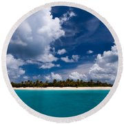 Paradise Is Sandy Cay Round Beach Towel by Adam Romanowicz