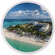 Paradise - Isla Mujeres - Playa Norte, Aerial Image Round Beach Towel