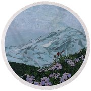 Paradise Mount Rainier Round Beach Towel