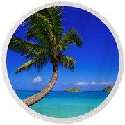 Paradise Palm Over Lanikai Round Beach Towel