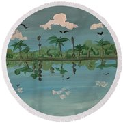 Paradise Reflection Round Beach Towel