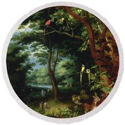 Paradise Scene With Adam And Eve Round Beach Towel
