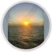 Paradise Sunset Oasis Round Beach Towel