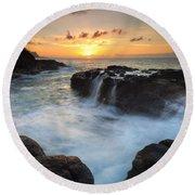 Paradise Sunset Splash Round Beach Towel
