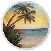 Paradise With Dolphins Round Beach Towel