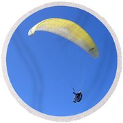 Paraglider And Seagull Round Beach Towel by Will Borden