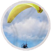 Paraglider Floating In The Clouds Round Beach Towel