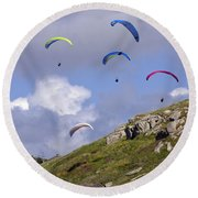 Paragliding Over Sennen Cove Round Beach Towel