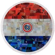 Paraguay Flag Round Beach Towel