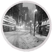 Paramount Snowstorm Boston Ma Washington Street Black And White Round Beach Towel