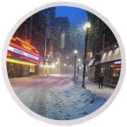 Paramount Snowstorm Boston Ma Washington Street Round Beach Towel