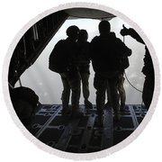 Pararescuemen Prepare For A Halo Jump Round Beach Towel